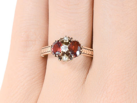 Victorian Garnet Diamond Pearl Ring