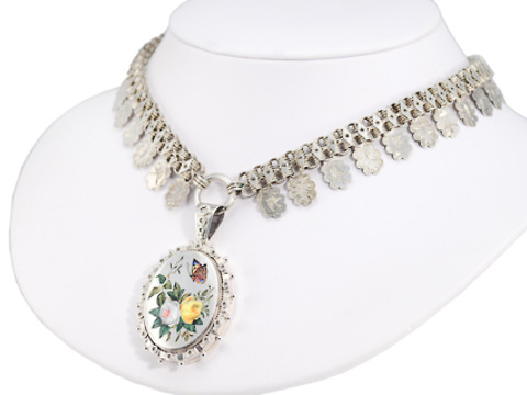 Victorian Silver Bird Motif Necklace