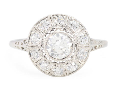 Deco Flash in a Dramatic Diamond Cluster Ring