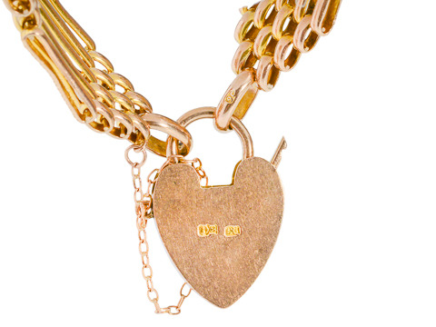 Gold Gate Bracelet with Heart Padlock