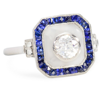 Rock Crystal Sapphire Diamond Dinner Ring