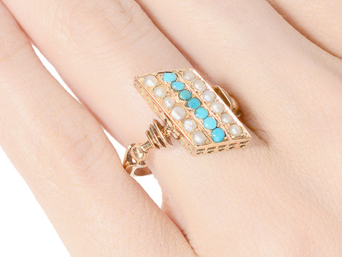 Victorian Illusion: Pearl Turquoise Ring