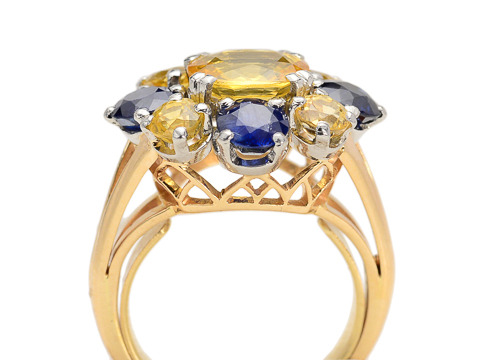 French Bouquet: Yellow & Blue Sapphire Cluster Ring