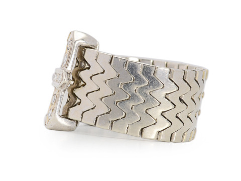 Buckle Up for Chic - Diamond Set Buckle Ring