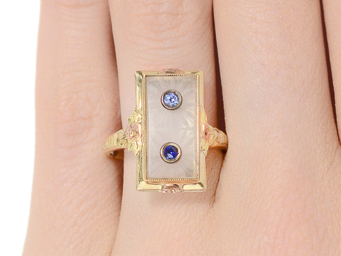 Rays of Rock Crystal in a Sapphire Ring