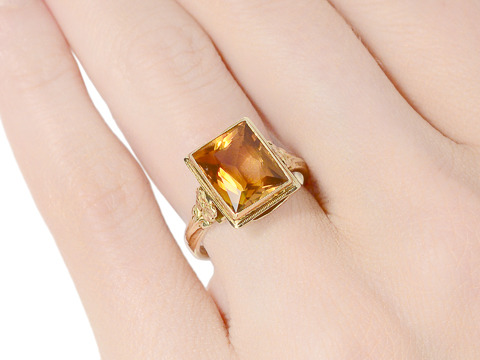 Sun Dance: Art Deco Citrine Ring