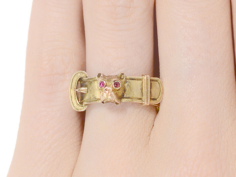 Victorian Pug Dog Motif Buckle Ring
