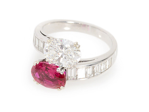 Glowing Ruby & Diamond Crossover Ring
