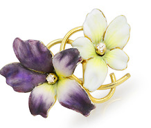 African Violets in Bloom: Art Nouveau Brooch