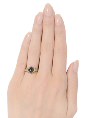 Vintage Midnight Blue Sapphire Ring