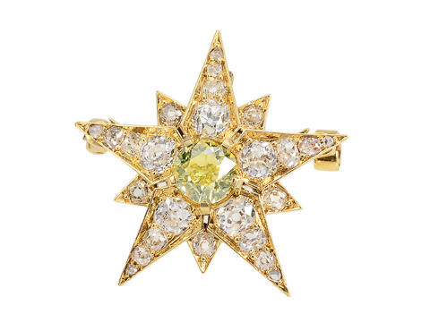 Starlight Victorian Green Diamond Star Brooch