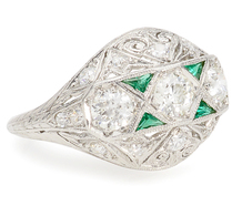 Burst of Color: Vintage Diamond Emerald Ring