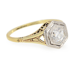 White on Gold Vintage Diamond Ring