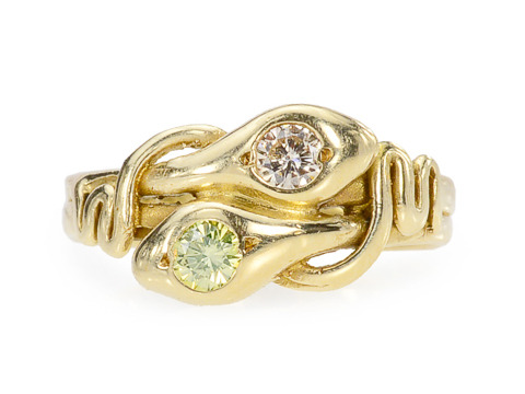 Green & White Diamond Snake Ring