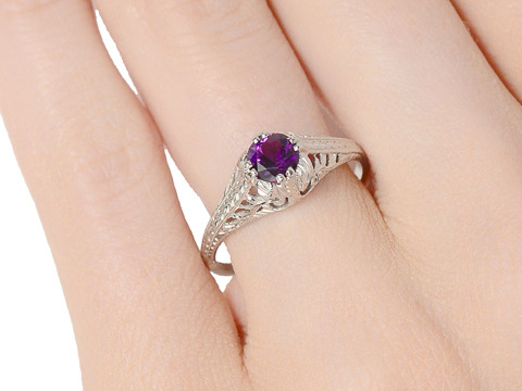 Counterpoint - Vintage Amethyst Platinum Ring
