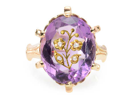 Art in a Carved Amethyst Antique Ring