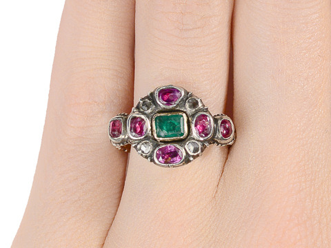 Fabulous Early Georgian Emerald Ruby Ring