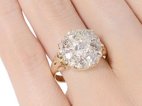 Heart Strings - Antique Diamond Cluster Ring