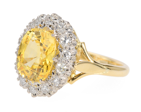Rays of Promise - Yellow Sapphire Halo Ring