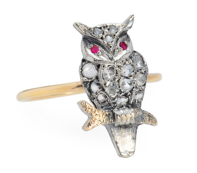 Cravat to Finger: Antique Diamond Owl Ring