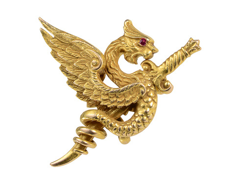 Riker Brothers Antique Dragon Brooch