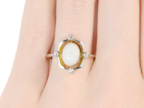 Unique Art Deco Opal Diamond Ring