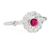 Flower Power - Ruby Diamond Halo Ring