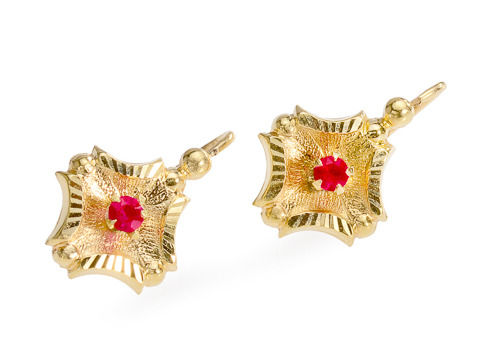 Antique French Ruby Dormeuse Earrings