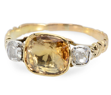 Georgian Topaz Diamond Ring