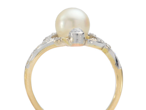 Illuminati - Vintage Pearl Diamond Ring
