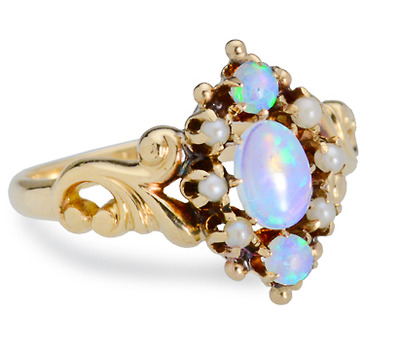 Swirls, Opals & Pearls in an Antique Ring