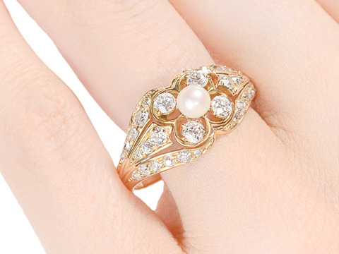 Evocative Art Deco Diamond Pearl Ring