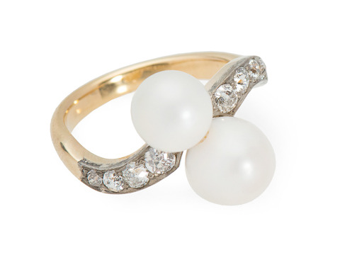 Antique Crossover Natural Pearl Ring