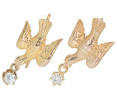 Birds of Love: Vintage Diamond Set Earrings