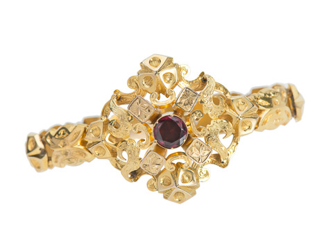 Antique Garnet Gold Bracelet in Original Box