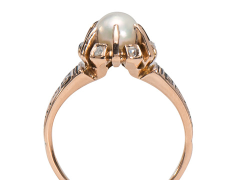 Victorian Pearl & Diamond Rose Gold Ring