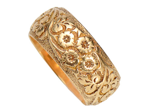 Edwardian Patterned 18k Eternity Band