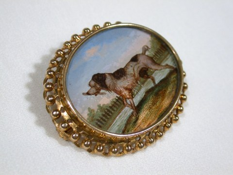 Victorian Antique Reverse Painted Dog Brooch