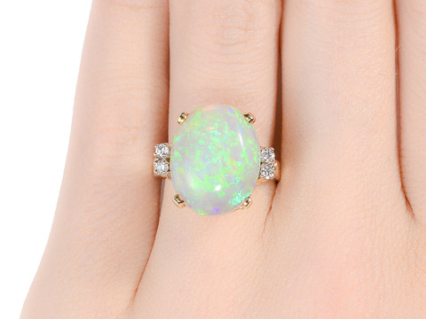 Signed Cartier Opal Diamond Ring