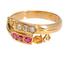 Variation: Antique Diamond Ruby Crossover Ring