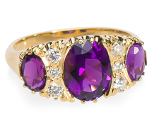 Three Stone Amethyst & Diamond Ring