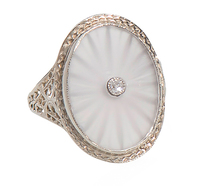 Dynamic Vintage Frosted Rock Crystal Ring