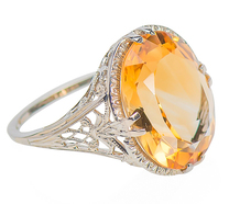 Field of Daisies - Vintage Citrine Solitaire Ring