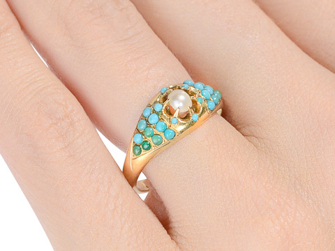 Sea & Earth: Antique Pearl & Turquoise Ring