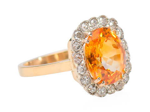 Good Day Sunshine - Orange Sapphire Diamond Ring