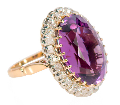 Passion - Antique Amethyst Diamond Ring