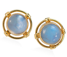 Planets & Moonstones: Art Deco Earrings