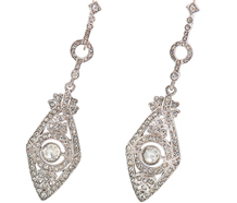 Art Deco Paste Silver Earrings