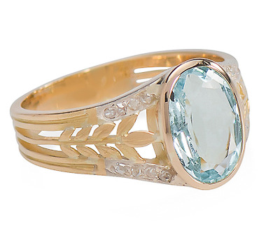 French Edwardian Awe: Aquamarine Diamond Ring