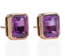 Amethyst Set Rose Gold Stud Earrings